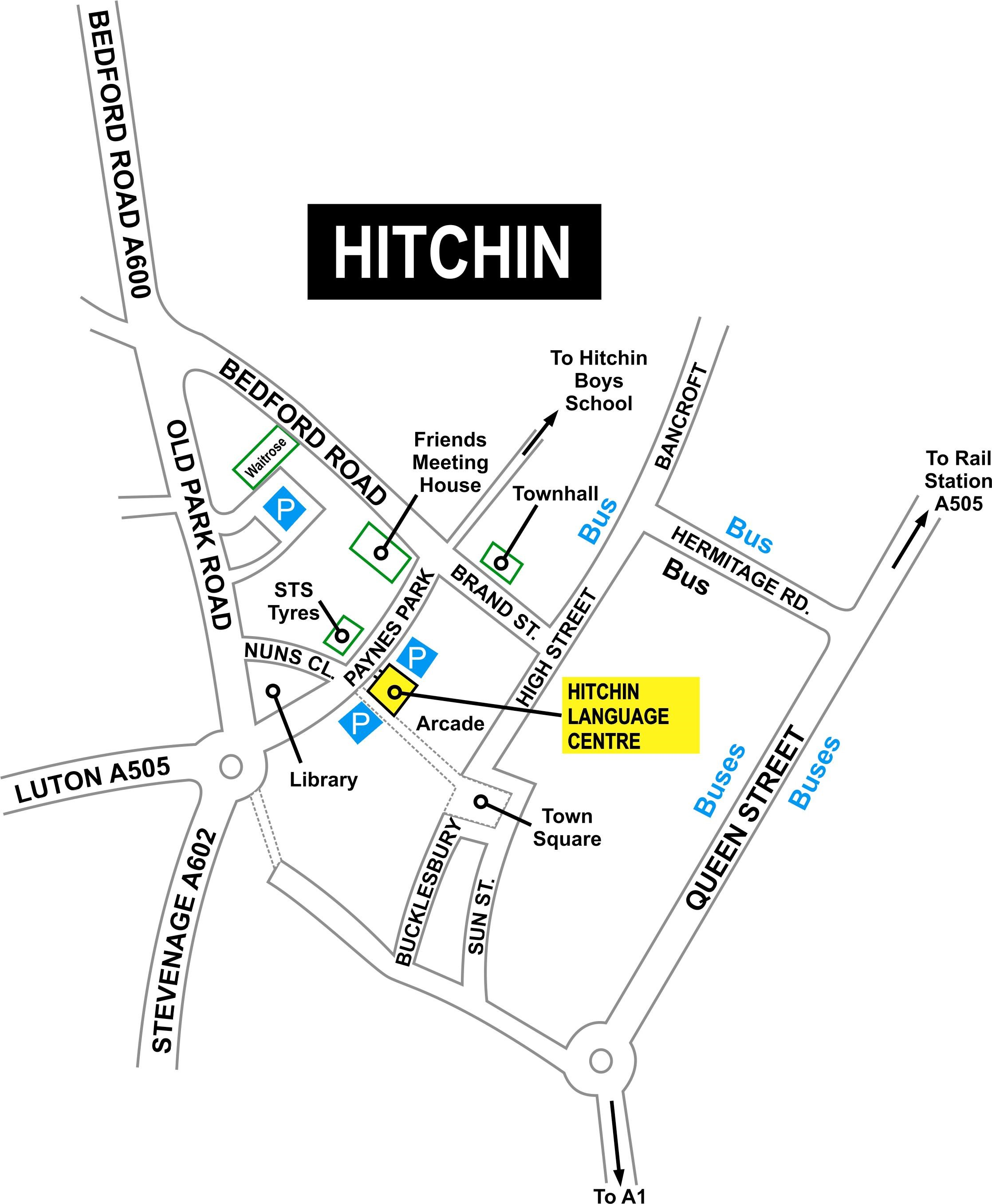 Street Map showing Hitchin Language Centre